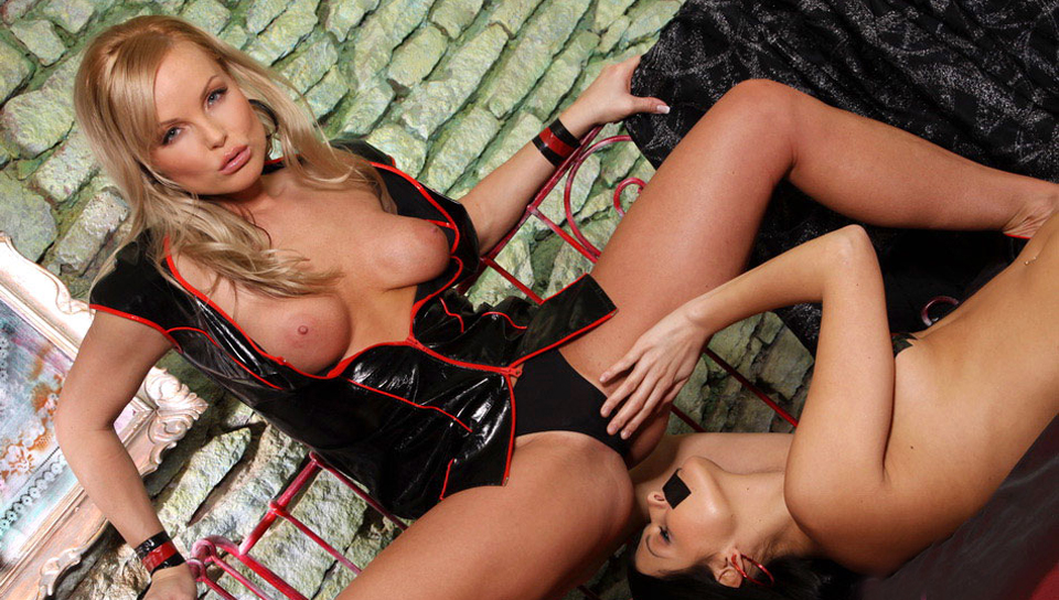 Silvia Saint explores her latex fetish with a gorgeous slave sweetie