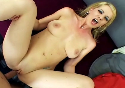 Slutty blonde moaning as she gets her ass stretched hardcore