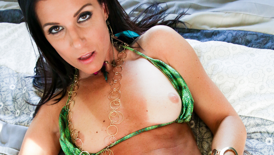 sexy brunette milf strips off her bikini to suck and fuck