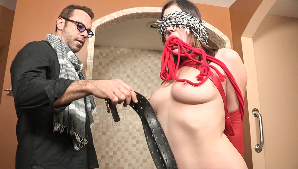 Sovereign gets bound, titillated and whipped in the bathroom