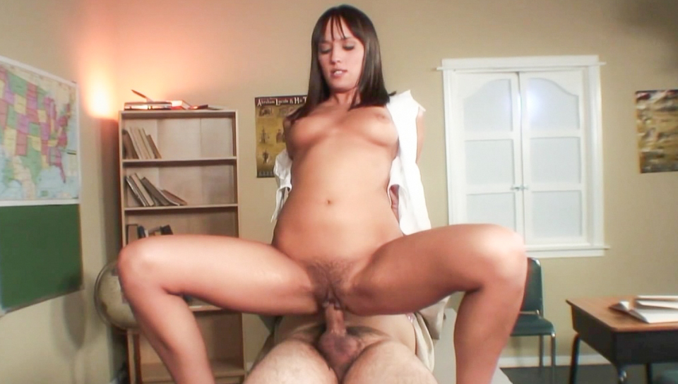 Horny and hairy Nadia Aria gets her snatch pounded deep.