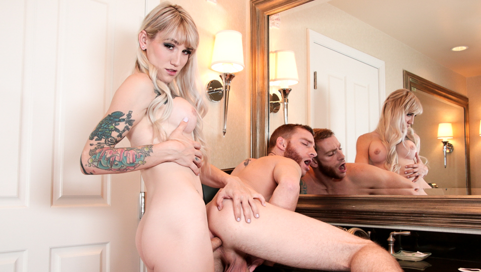 Tattooed babe fucks Sebastian in his tight ass