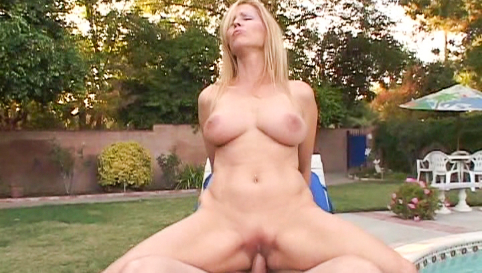 Slutty blonde Nicole Moore gets fucked hard by the pool.