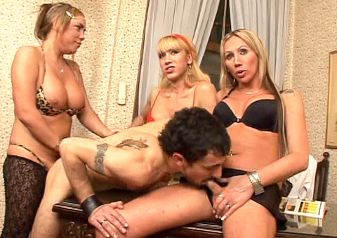 4 stunning blonde trannies gang bang this lucky fellow !