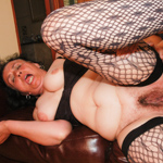 Hairy chubby granny gets screwed in all her holes