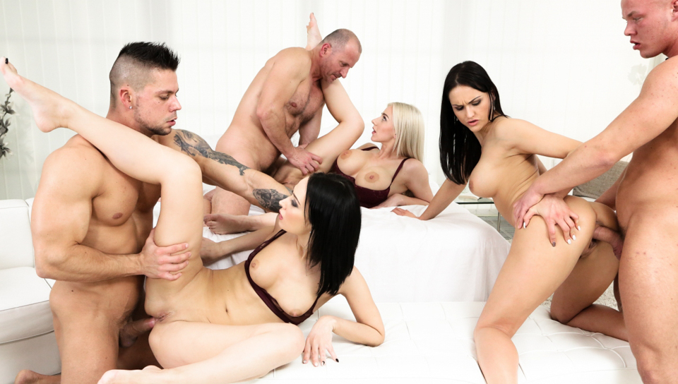 Stunning hot girls love to have an intense orgy