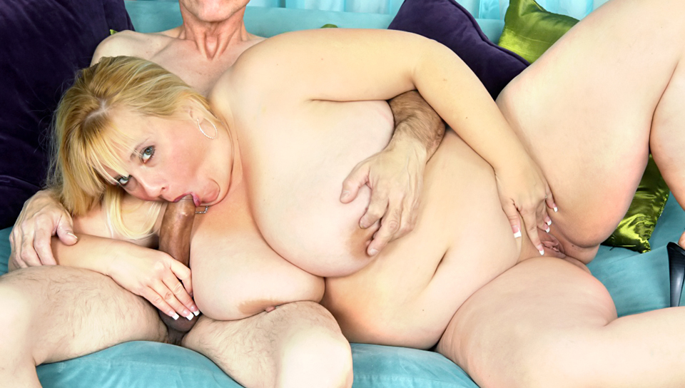 This blonde fat whore gets the surprise of a lifetime. COCK!