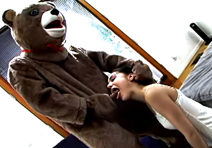 Sasha Grey sucks a bears cock