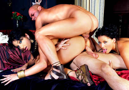 Intense roman theme orgy with 6 mega hot ass sluts screwing hard!