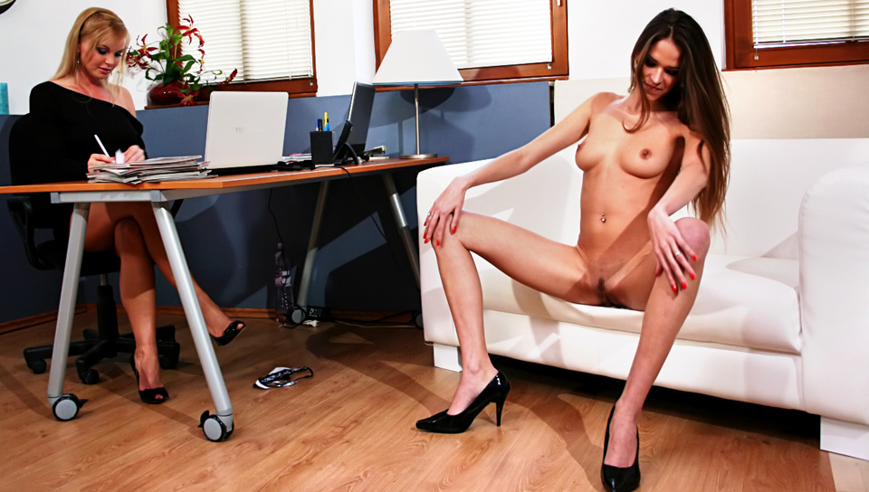 Sexy horny brunette gets you hard in this intense casting session