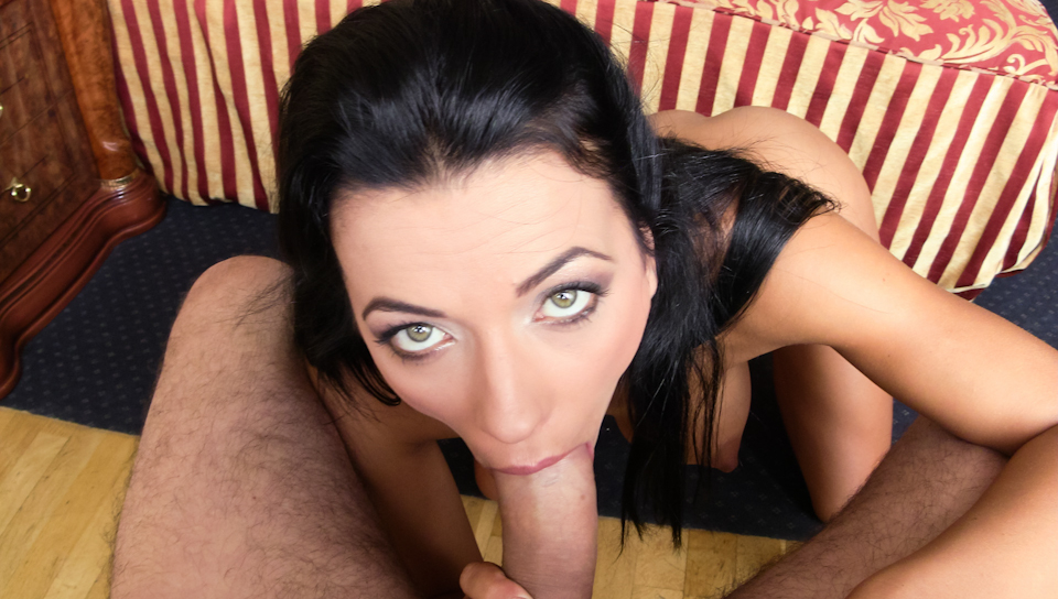 Busty Shalina Devine sucks a huge shaft like a professional
