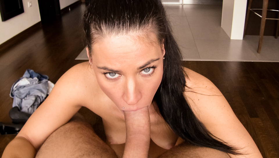 Fit whore Athina loves to suck David Perry's cock POV style