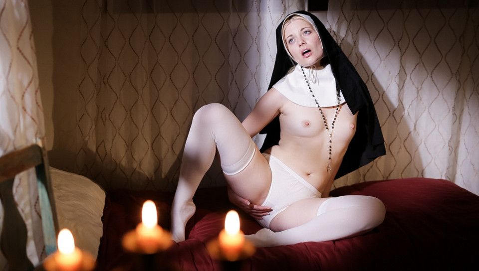 Sister Charlotte Stokely masturbates in her cell at night