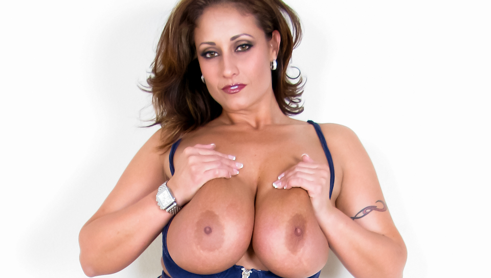 Nasty latina Eva Notty uses her huge breasts to milk a cock