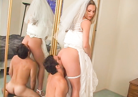 Slave guy dresses wife for wedding and then eats her pussy !