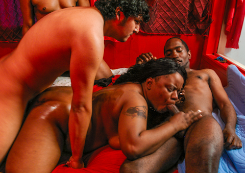 Ebony BBW gets plowed hard by 4 different guys at once