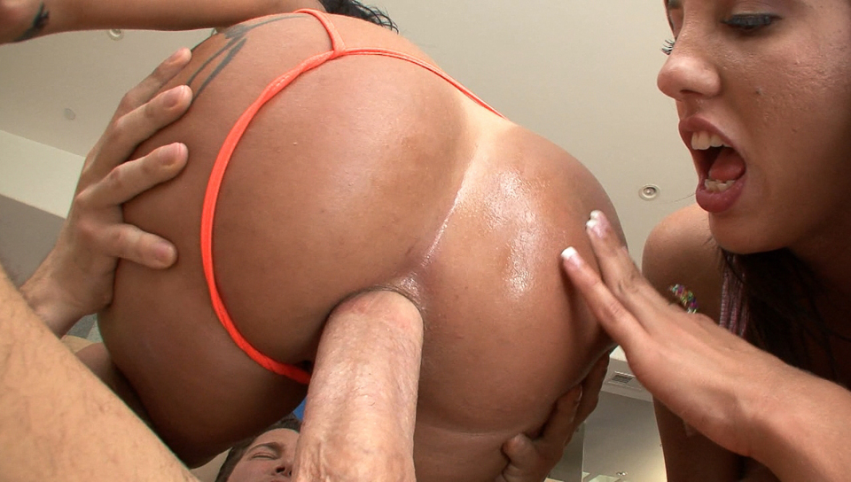 Two luscious hotties get their bubbly butts fucked hard