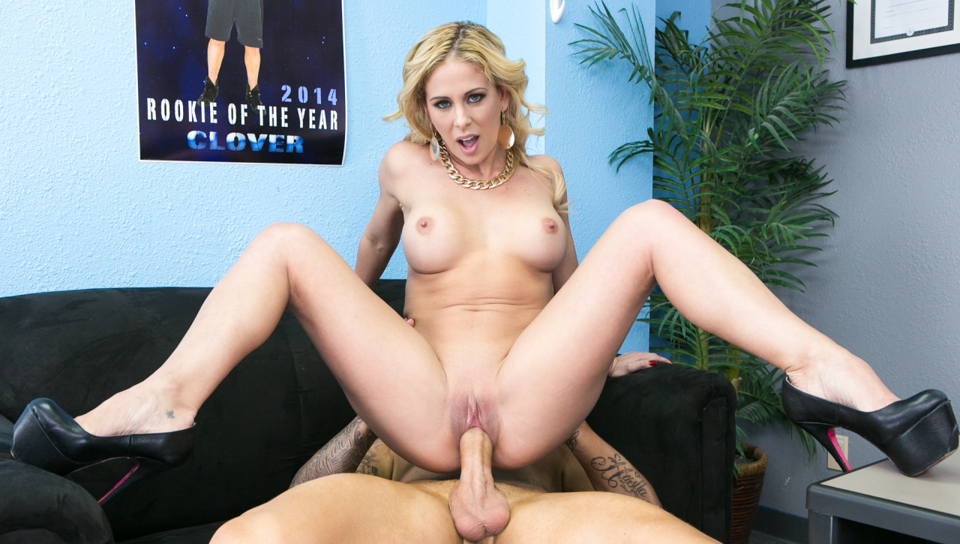 Cherie hears guy's dick is huge & wants to see for herself!