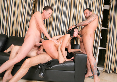 Cecilia Vega's whore holes get rodded in a wild gangbang