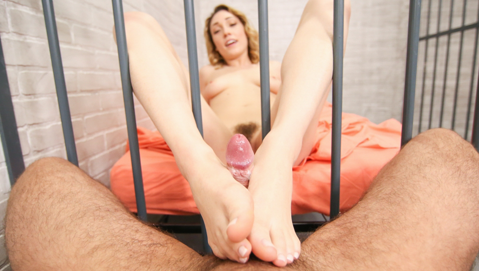 Lily's Jail Cell POV Foot Job/Blow Job - Toni Ribas & Lily LaBeau