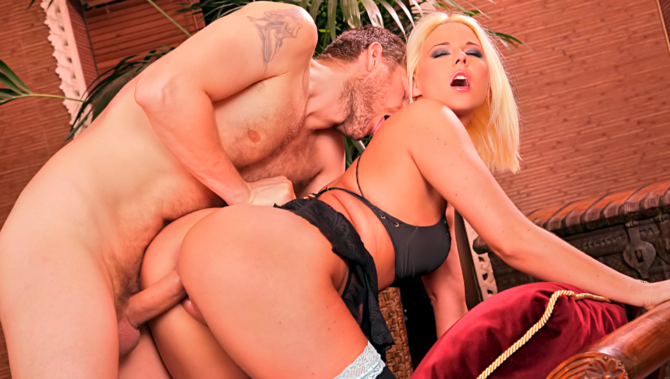 Astounding blonde works her asshole around his huge cock