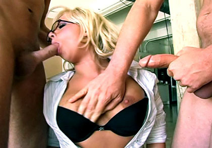 Sexy secretary slut sucks the juice clean out of 3 hard cock
