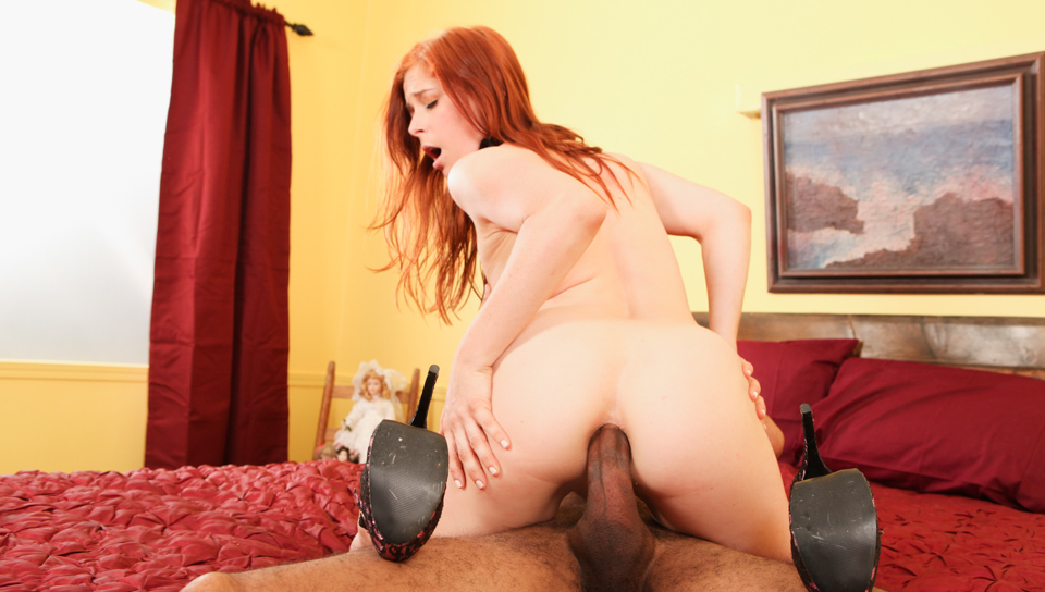 Redhead horny for rough big black cock in her ass