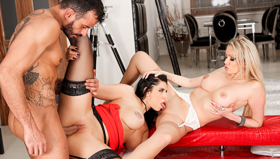 Three gorgeous women get fucked and moan like crazy