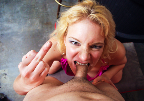 Horny dominant blonde chick kicks the cum out of a tiny dick