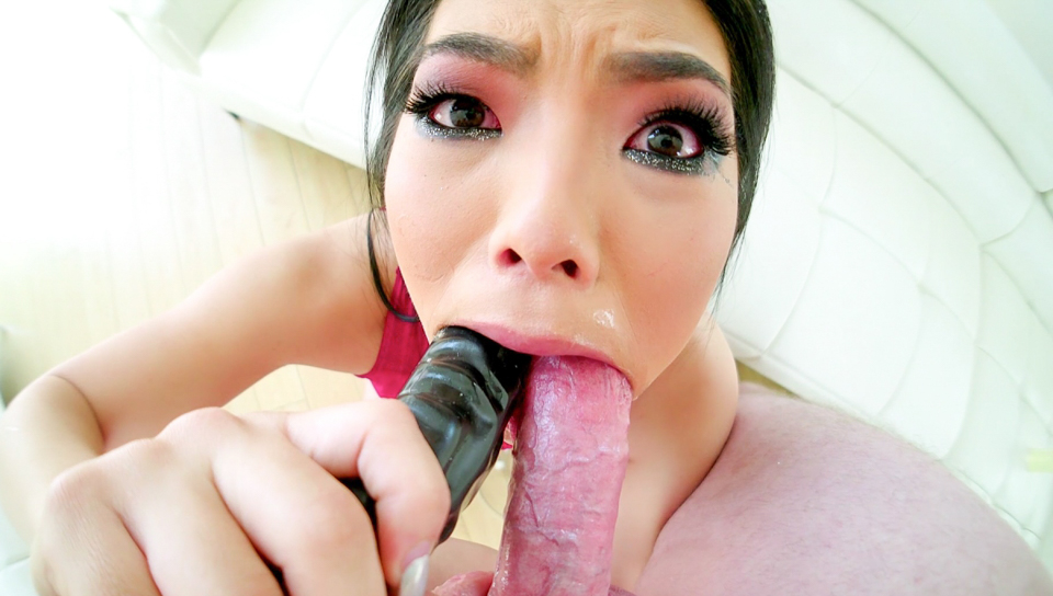 Asian slut Nari Park face fucked deep and hard POV style.