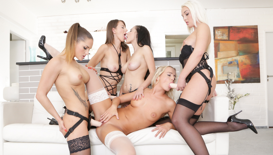Sexy babe gang banged by four hotties at massage parlor.