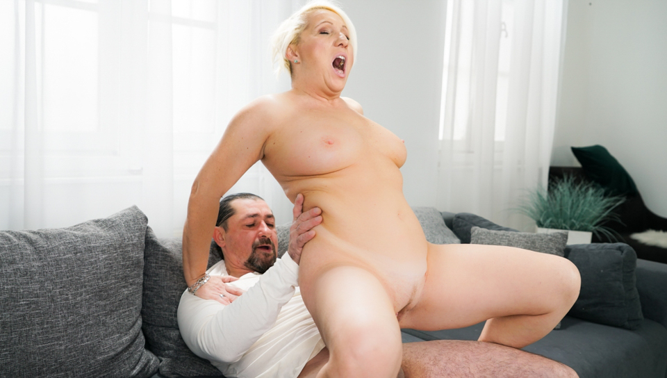 Bibi Pink is horny for some younger cock in her granny cunt