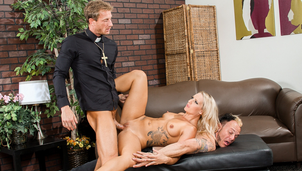 She ask a priest for a real man & he gives her the holy cock