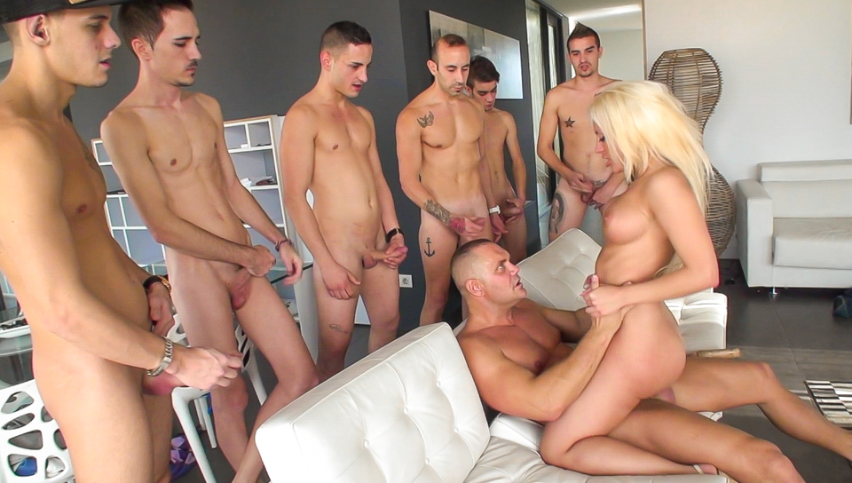 Busty blonde gets dicked by a group of guys in gonzo scene !