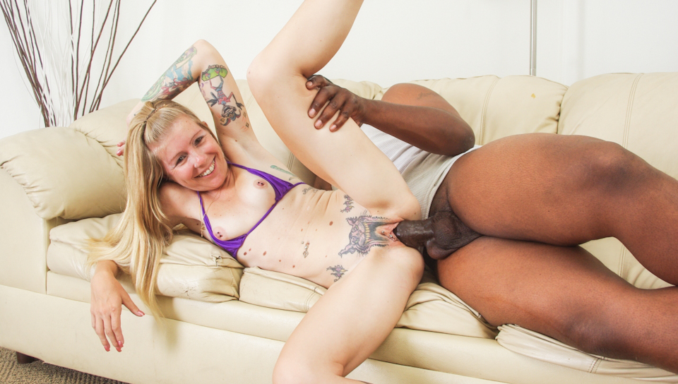 White tattooed cunt swallows cock then rides it till it cums