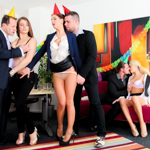 Three horny cunts gets pussy and ass pounded at the office