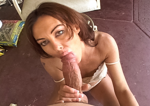 POV of a MILF sucking and getting nailed by a massive cock