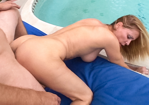 Kinky blonde MILF loves to get pussy pounded by the pool