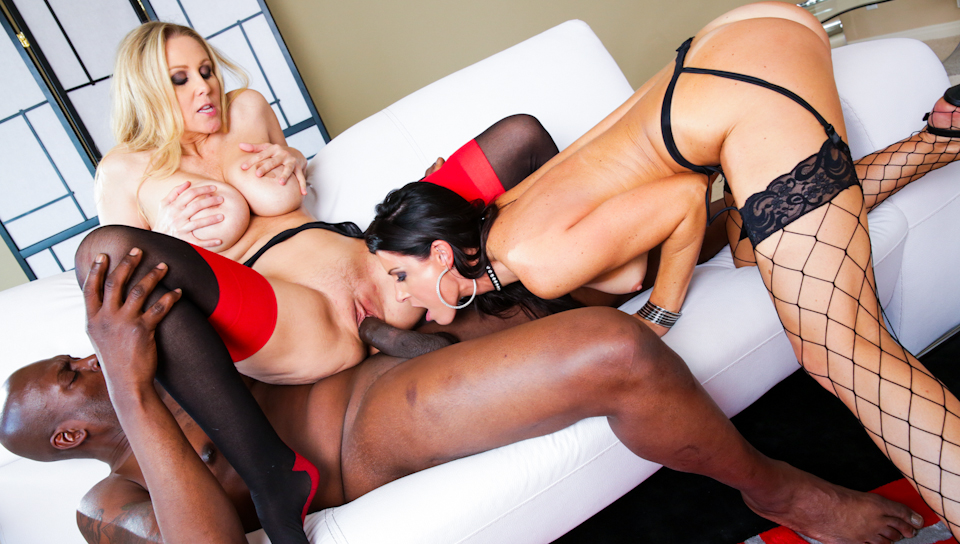 hot blonde and brunette milfs fucking his huge black cock