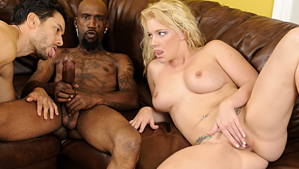 Beautiful blonde & her husband getting fucked by a HUGE cock