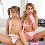 Watch Lexi and Angel get ready for their hot lesbian action