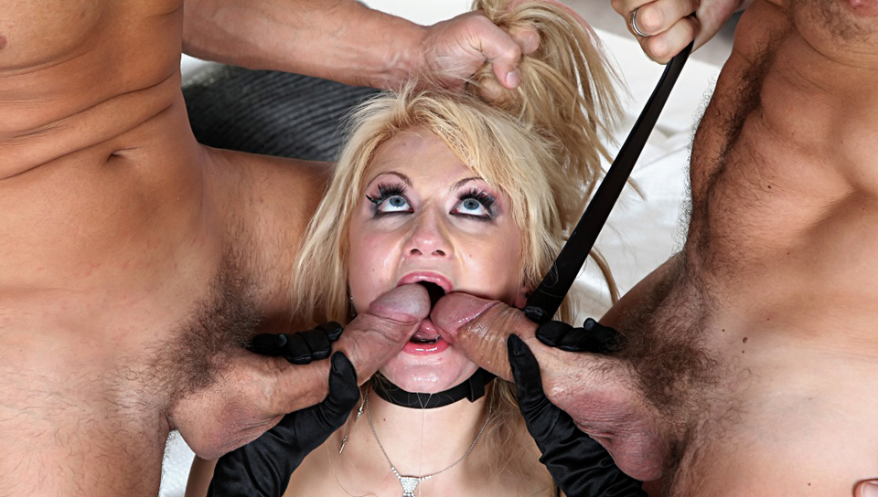 Blond Russian sluts gets double penetrated by two large cock