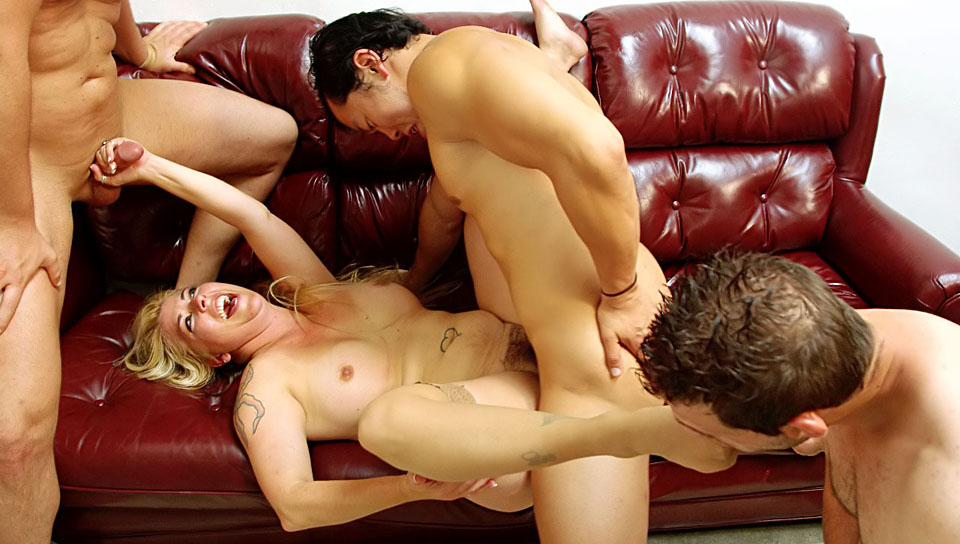 This hot MILF shows who's the boss while being gangbanged!