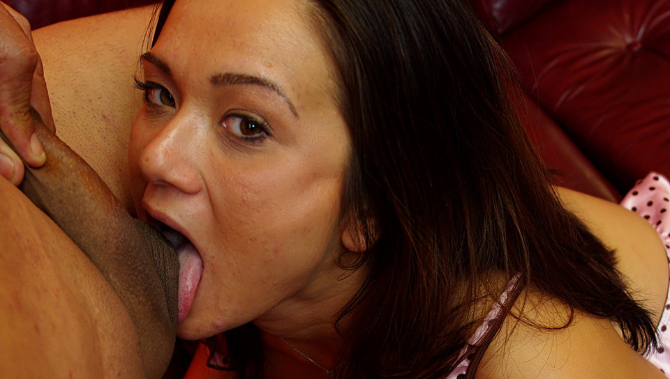 Sexy young brunette with real tits takes a cock in throat!