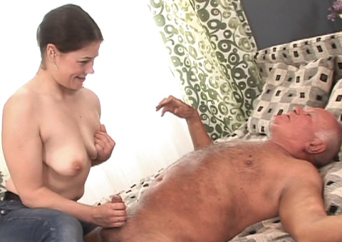 Horny old grandpa gets a sexy massage from young girl.