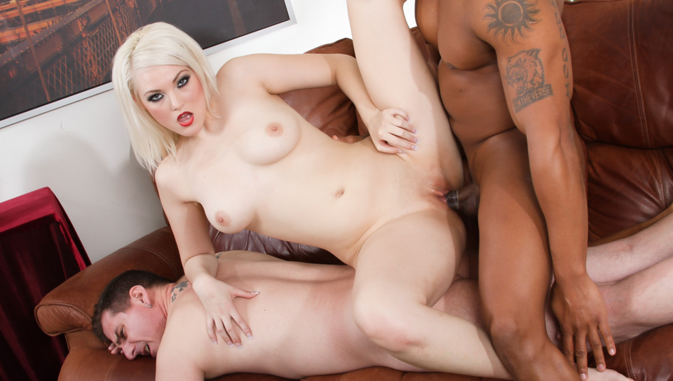 Blonde shows her man bitch how to be fucked properly