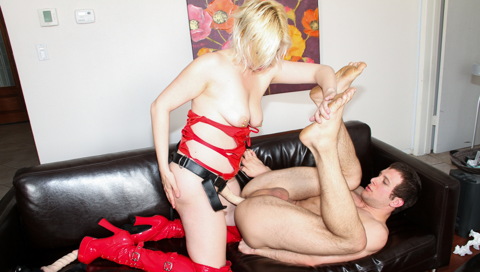 That guy gets pegged hard by horny and naughty fetish girl!