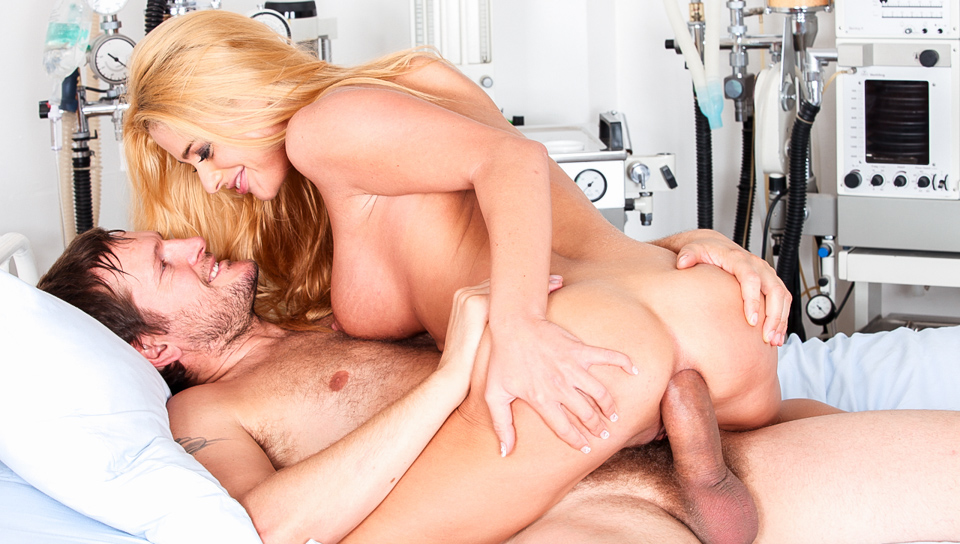 Pretty blonde toys herself & gets ass fucked at infirmary