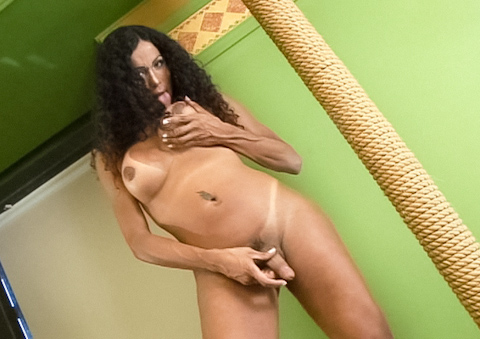 Julia the gorgeous tanned tranny strokes her trouser snake