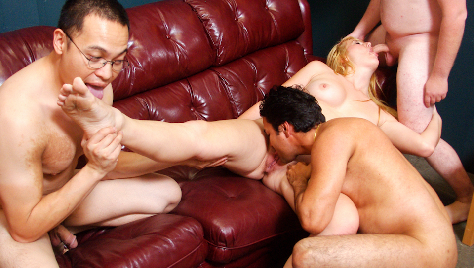 Horny blonde shows how to handle 3 cocks at the same time